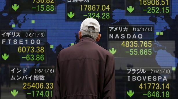 Aktier: Blandet udvikling i Asien med Tokyo-fald og Hongkong-plus