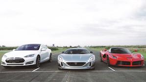 Video: Tesla og Ferrari f�r baghjul af kroatisk hyperbil