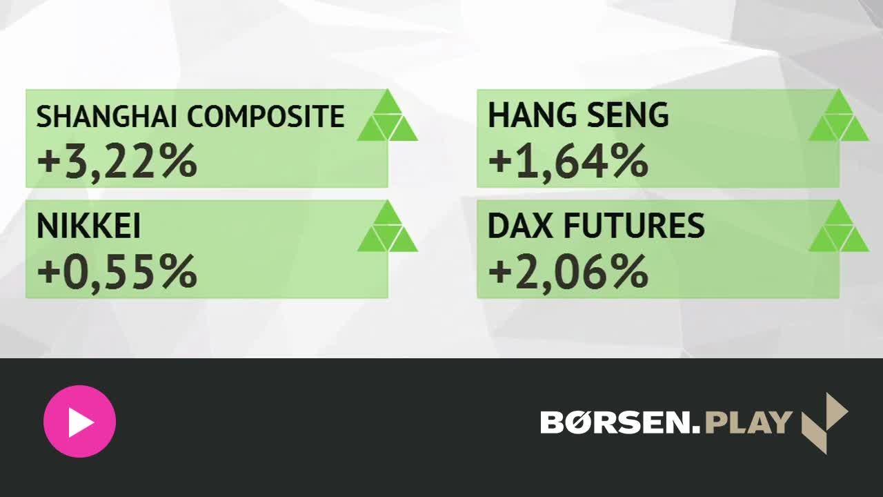 St�rk �bning i vente - DAX future oppe med 2 pct.