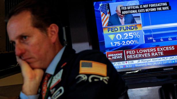 """Aktier: """"Skuffende"""" Fed-melding vendte minus til plus på Wall street"""