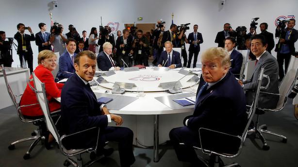 EU-ledere lægger pres på Trump på G7-topmøde for at nedtone handelskrigen