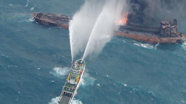 Håbet er ude for besætningsmedlemmer på brændende olietanker