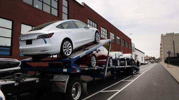 Aktieluk i USA: Handelsnervøsitet ramte marked - Tesla mod strømmen