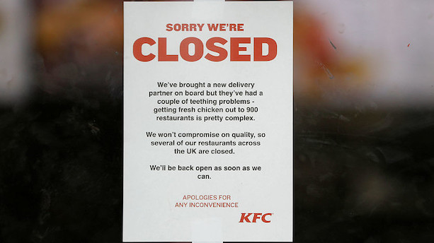 KFC løber tør for kylling: Lukker 900 butikker i Storbritannien