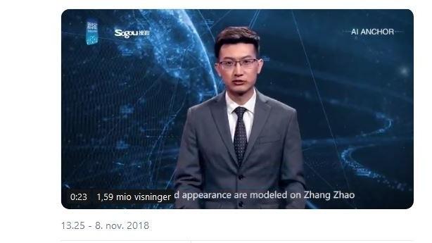 Verdens første robot-nyhedsvært er nu på skærmen i Kina