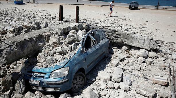 Borgere og turister på Kos sover udenfor efter jordskælv
