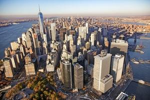 Helikopterperspektiv på Verdens finanscentrum